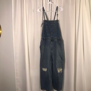 Cropped Wide Leg Distressed Overalls